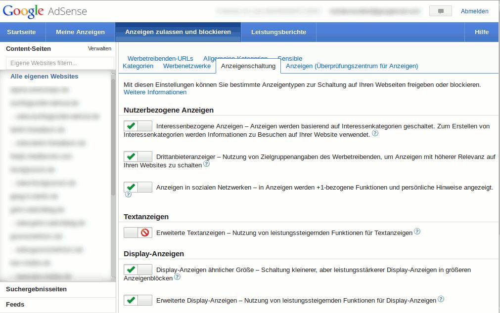 Pfeile bei Google Adsense Anzeigen entfernen