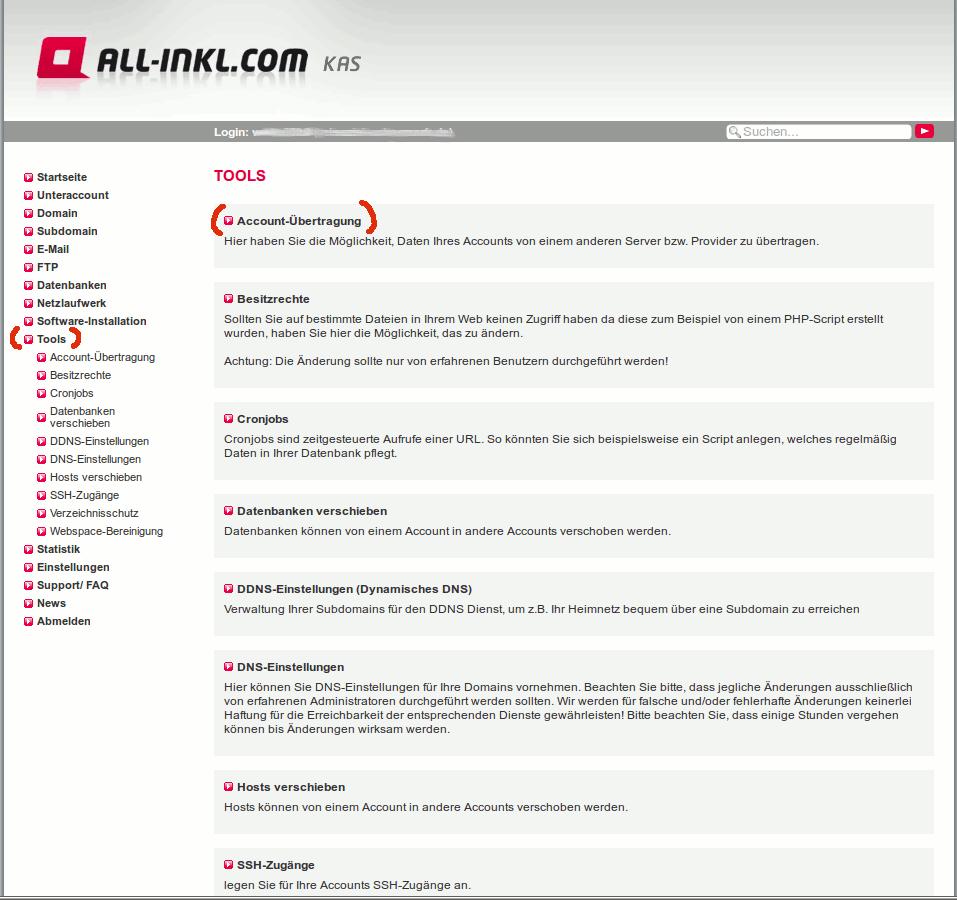 Die Account übertragen Funktion bei den all-inkl Tools auswählen