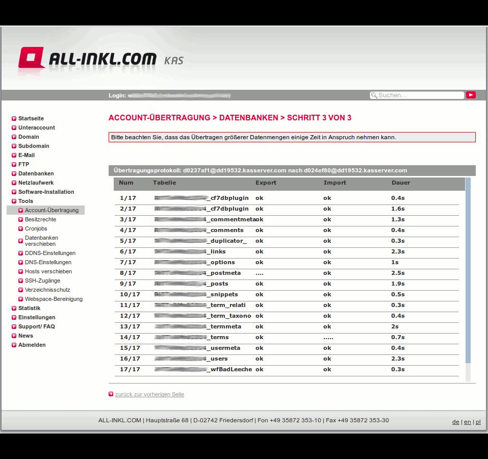 All-inkl informiert über den Kopiererfolg einer jeden einzelnen Tabelle