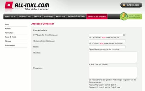 Der .htaccess Generator von all-inkl.