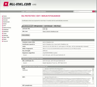 Geschafft. Das SSL Zertifikat ist erstellt und eingebunden