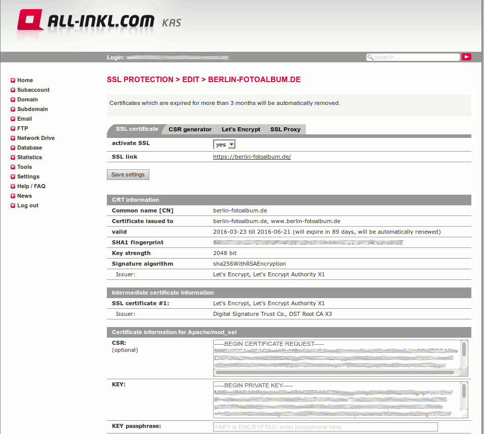 Webhoster All inkl: SSL Zertifikate selbst einrichten