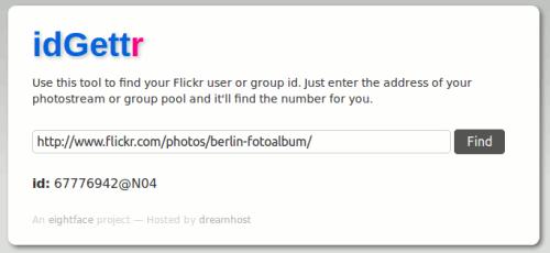 Flickr ID Ermittlung