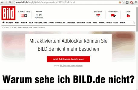 BILD Online reagiert auf Browser mit Ad Blockern