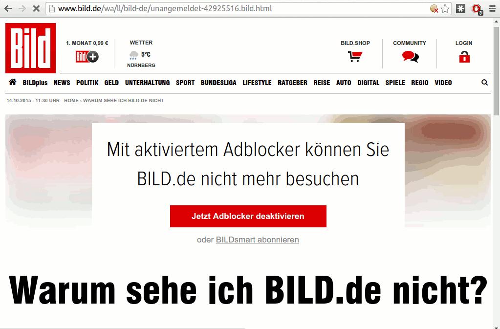 BILD sperrt Browser mit Ad Blocker aus