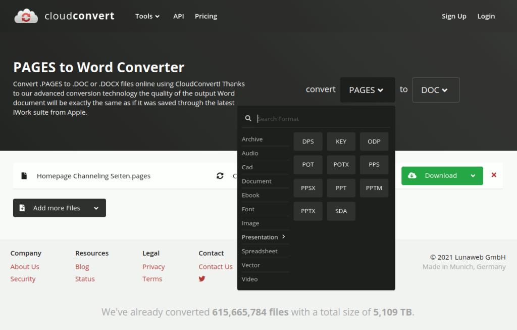 Webinterface von cloudconvert