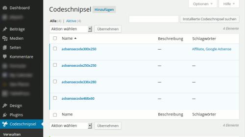 Verwaltungsoberfläche Code Snippets