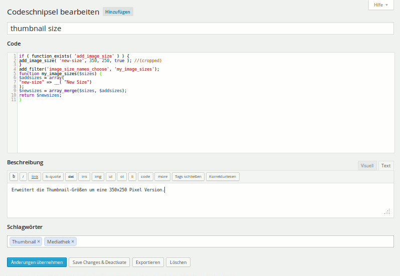 WordPress Snippets verwalten