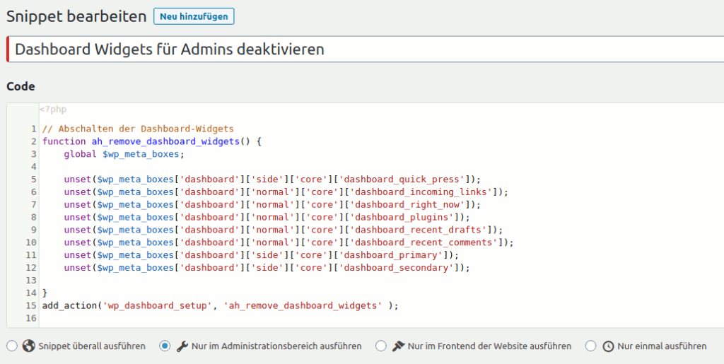 Code Snippets Plugin Beispiel