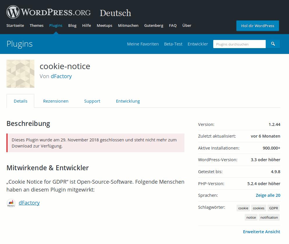 Entwicklung eingestellt: Cookie Notice for GDPR WordPress Plugin von dFactory