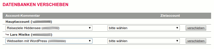 Datenbanken von einem in einen anderen All-inkl Account verschieben.