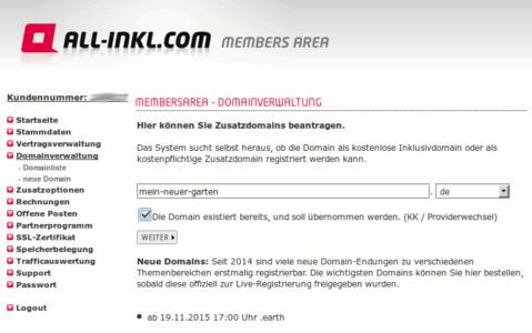 Bei all-inkl eine Domain importieren