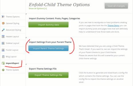 Enfold - Die Parent-Theme Einstellungen importieren