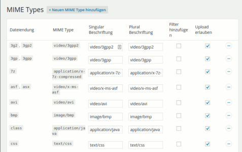Kontrolle über die Mime Types beim Enhanced Media Library Plugin