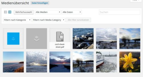 weitere Filterfelder beim Enhanced Media Library Plugin