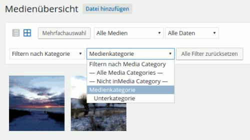 Kategoriefilter bei Medienanzeige
