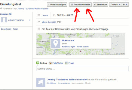 Freunde zu einer Facebook Veranstaltung einladen