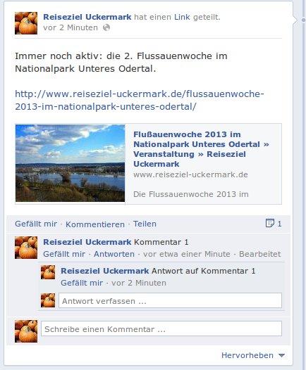 Facebook ermöglicht das direkte Antworten auf Kommentare in einem Fanpage Beitrag