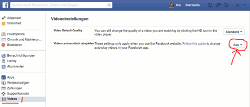 Facebook Video Autoplay deaktiveren