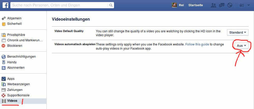 Facebook Videos: automatischen Abspielen deaktivieren