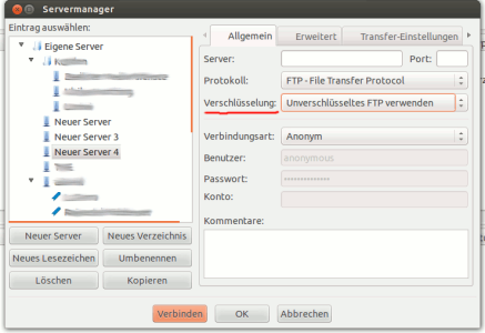 Filezilla Servereinstellungen