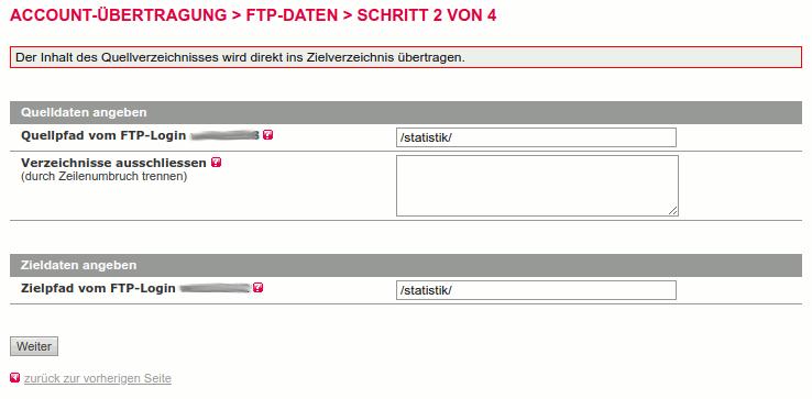 Quelle und Ziel bei FTP-Datenübertragung in All-inkl angeben
