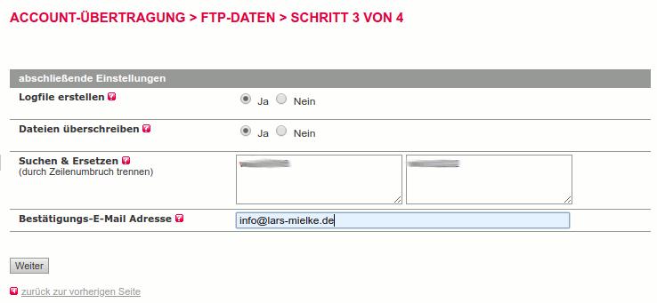 Logfile, Suchen-und-Ersetzen und Bestätigungsadresse bei der FTP-Datenübertragung in All-inkl.com
