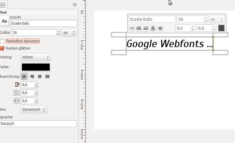 Google Webfonts in GIMP nutzen
