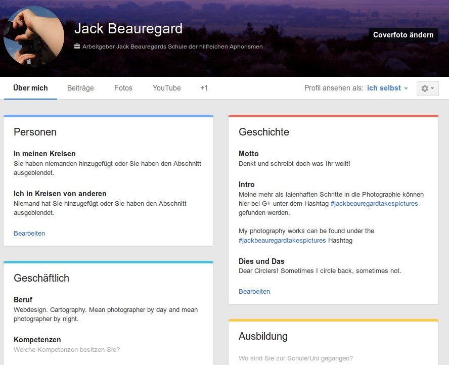 Google+ mit neuem Outfit für Profile und Seiten