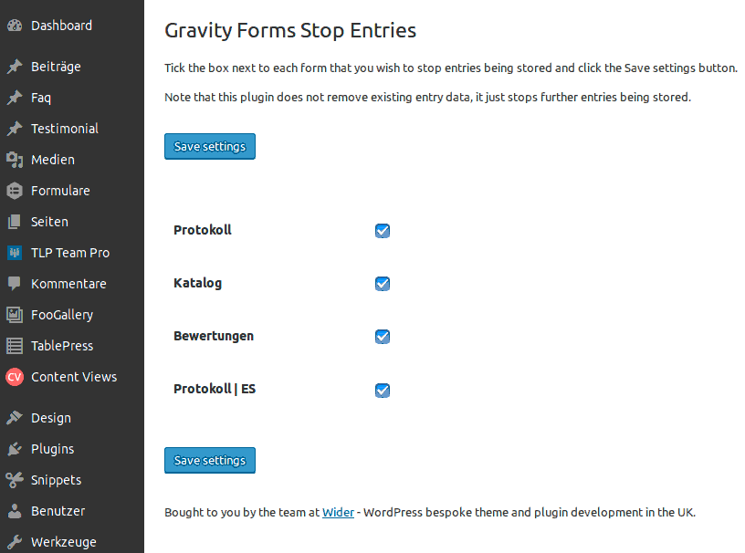 Gravity Forms stop entries Plugin