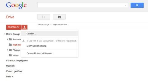 Ein hochauflösendes Bild nach Google Drive laden