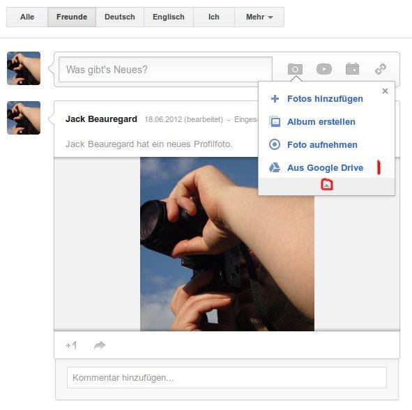 In Google+ ein Bild direkt aus dem Stream veröffentlichen