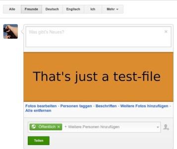 Vorbereiteter Google+ Beitrag