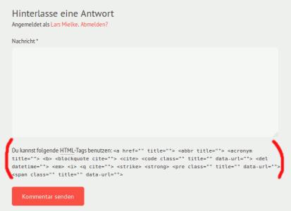 WordPress Kommentarfeld mit Hinweisen zu HTML Auszeichnungen