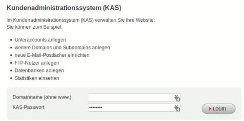 KAS - die Verwaltungsoberfläche von all-inkl