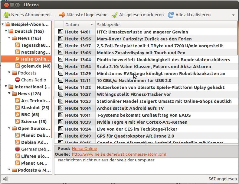 Liferea – ein Feedreader für Ubuntu und Mint Linux