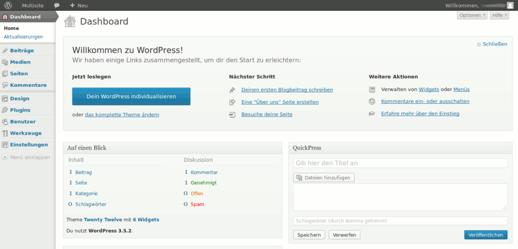 Dashboard einer WordPress Installation