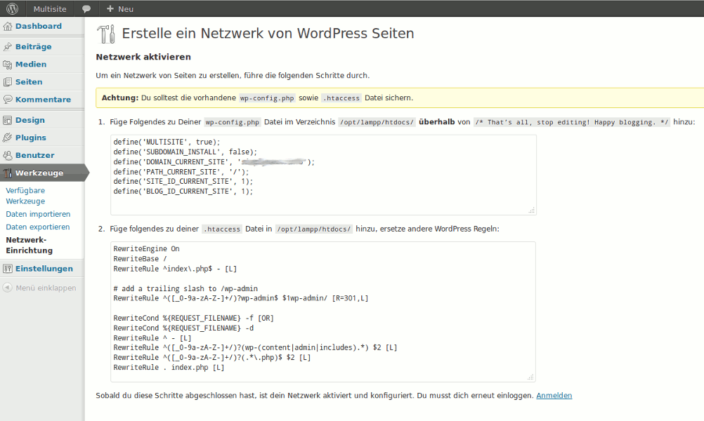 Einstellungen wp-config.php und .htaccess WordPress Multisite