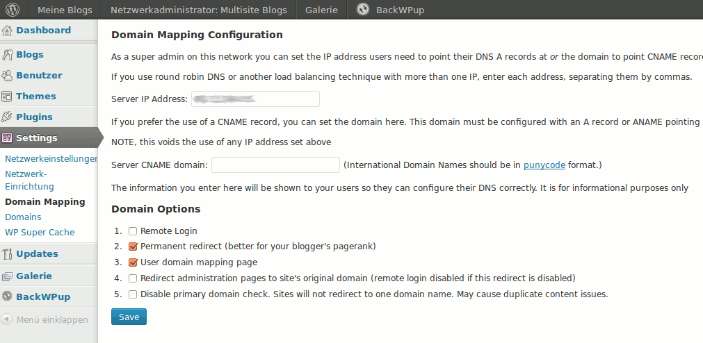 Domain Mapping Konfiguration WordPress Multisite