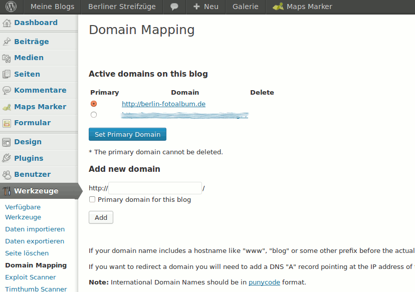 Domain Mapping Einstellungen auf WordPress Blog