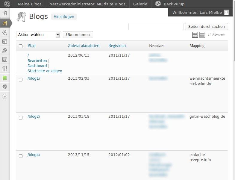 Die Blogs einer WordPress Multisite Installation