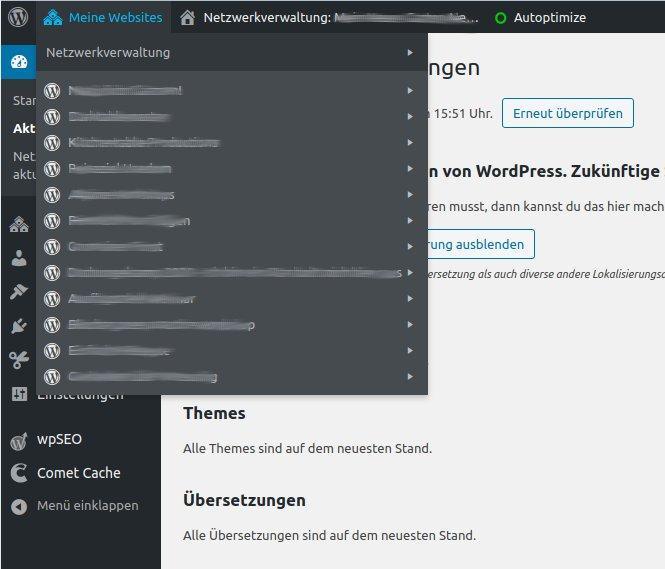 """Auflistung """"Meine Websites"""" in einer WordPress Multisite"""