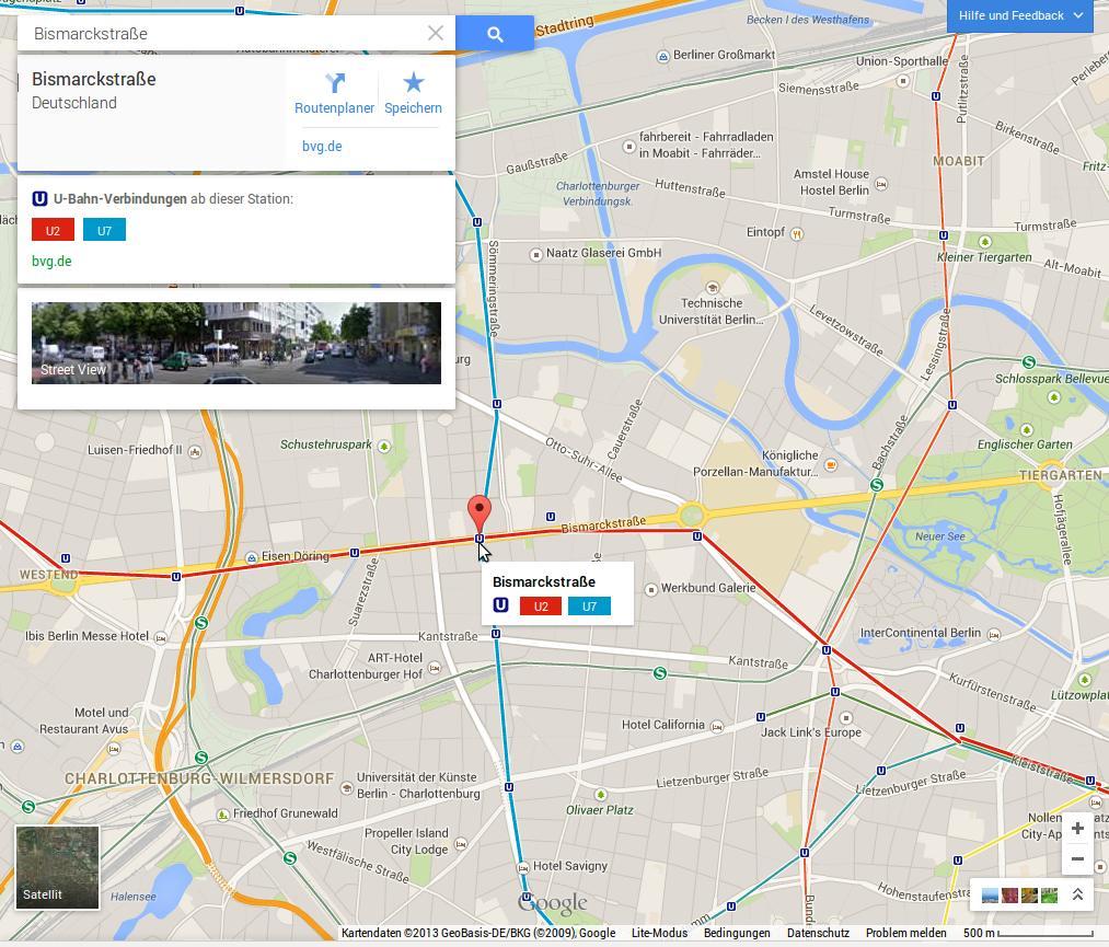 """Das Modul """"Öffentliche Verkehrsmittel"""" im neuen Google Maps zeigt in Berlin vor allem S- und U-Bahnstationen an."""