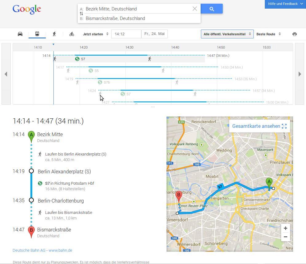 Routenplaner in Google Maps - öffentliche Verkehrsmittel