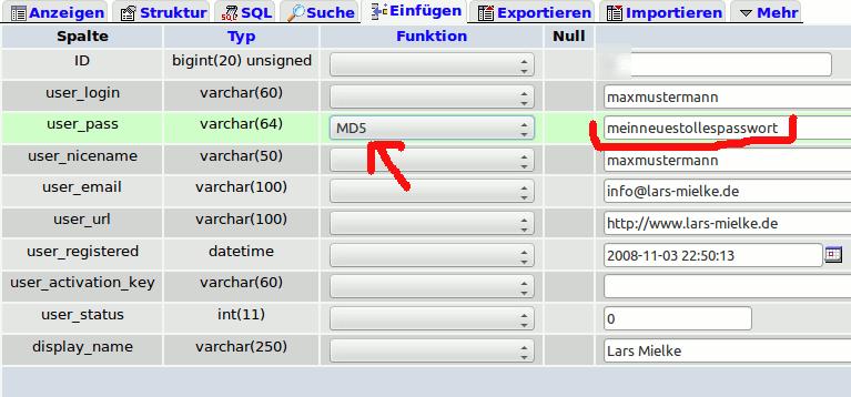 MD5 Funktion bei WordPress Passwort