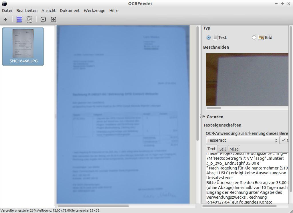 Texterkennung mit Tesseract und OCRFeeder unter Ubuntu