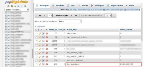In PHPMyAdmin heisst es die richtige Tabelle und den richtigen Wert finden