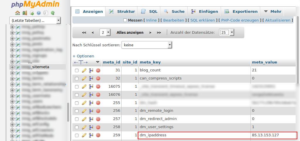 WordPress Multisite und IP Adresse hat sich geändert?