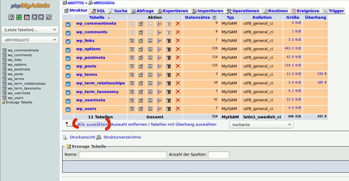 Tabellen markieren in phpmyadmin