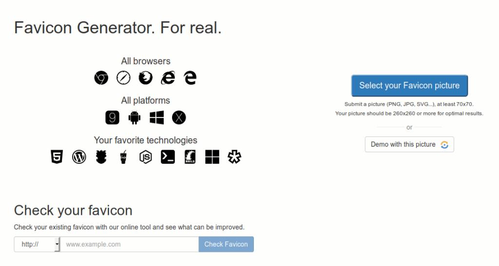 kostenloser Real Favicon Generator